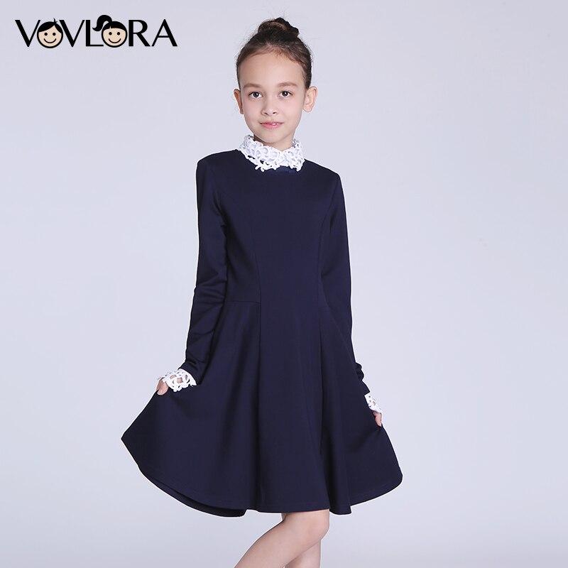 Kids Dresses Girls Long Sleeve Detachable Collar Turtleneck School Dress 2017 New Winter Girls Dress Size 9 10 11 12 13 14 Years<br>