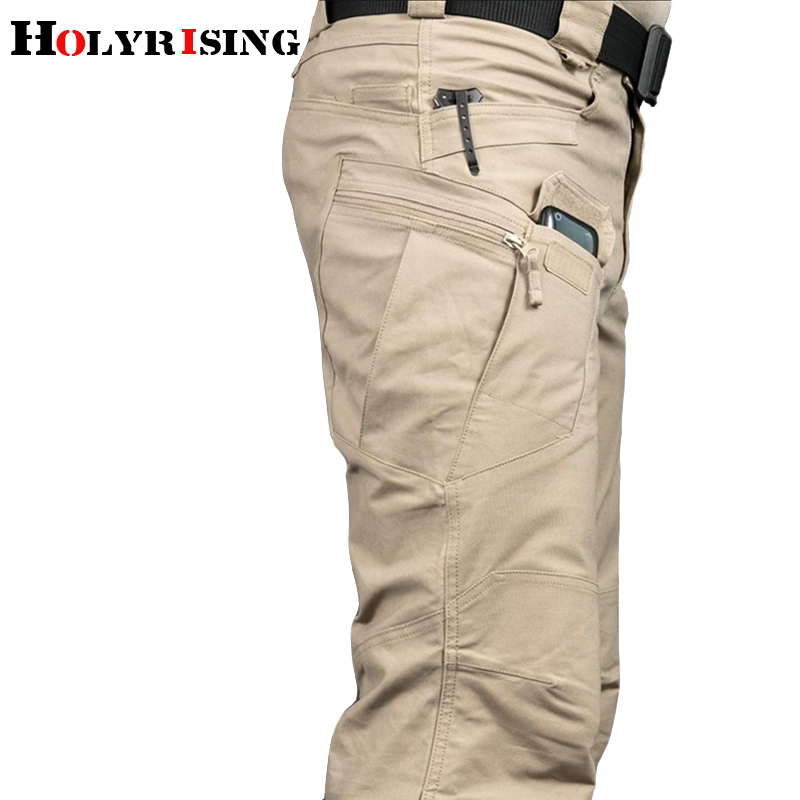 Holyrising Cargo Pant Trousers Men Military Urban Pocket Elasticity Commuter Multiple title=