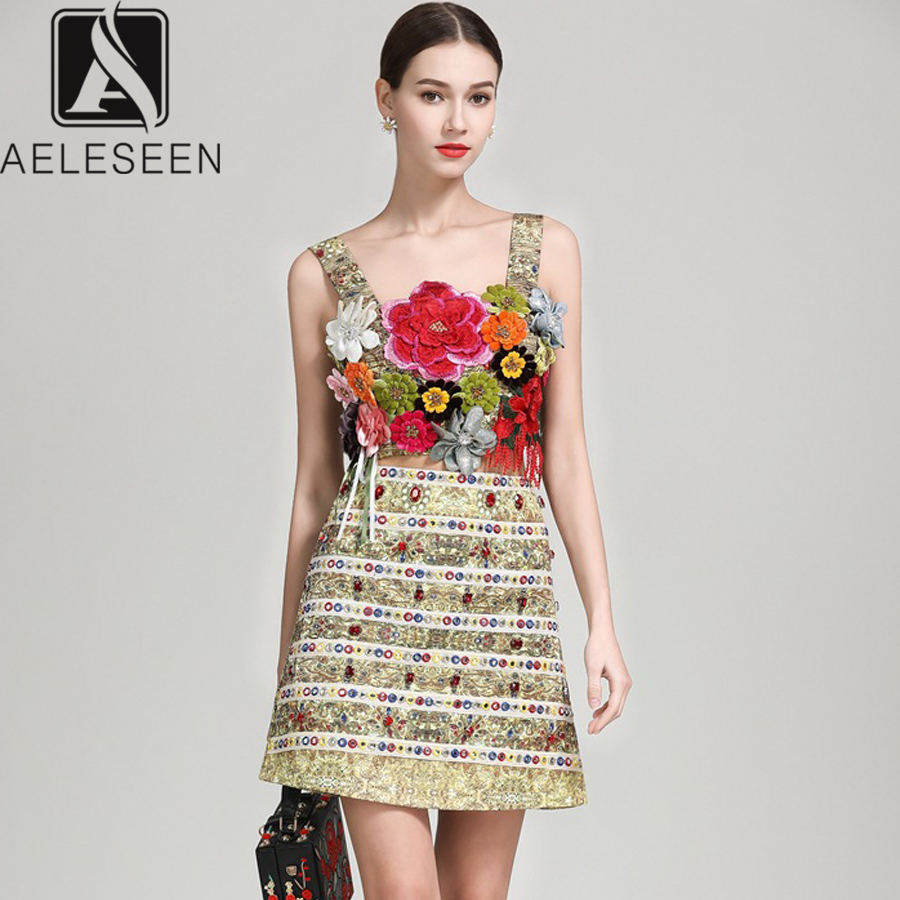 AELESEEN Runway 2 Piece Suit 2019 Romantic Summer Luxury 3D Appliques Spaghetti Strap Short Top Diamonds Crystal Mini Skirt Set