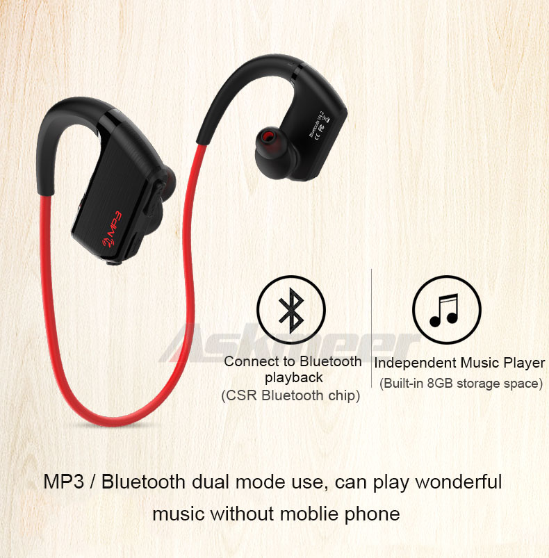 Askmeer J2 8GB Mp3 Music Player Headsets+Wireless Bluetooth Sport Earphone IPX4 Waterproof Earbuds Headset with Mic Hand Free