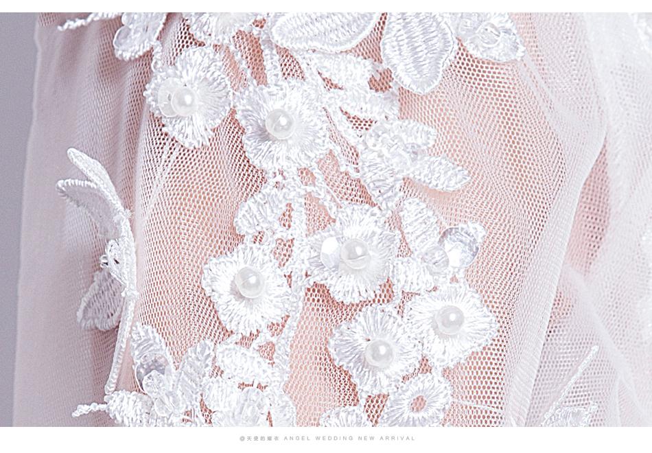 Angel Wedding Dress Marriage Bride Bridal Gown Vestido De Noiva 2017 Sweet, lace, flowers, long sleeves, 6011 17