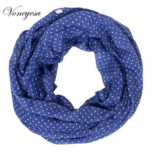 2017 New Fashionable Woman Small Dot Pattern Printed Infinity Scarf Summer Polyester Voile Scarf Women Luxury Brand RO175037(China)