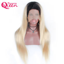 Dreaming Queen Hair Ombre 1B/613 Straight Full Lace Wig Pre-plucked Wig 100% Brazilian Human Remy Hair Wig with Dark Black Roots(China)