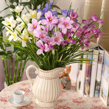 5pcs Freesia decorative flower wholesale flower decoration flower artificial flowers simulation potted Home