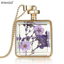 2018 Free Shipping Glass Locket New Necklace Women Alloy Real Dried Purple Flower Locket Pendant Necklaces(free Chains )(China)
