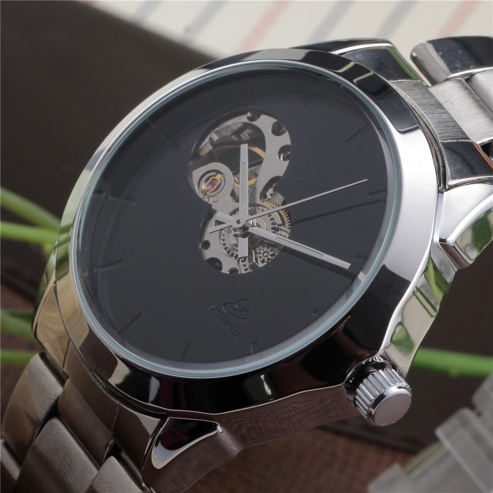 2017 SHENHUA Antique Simple Black Dial Skeleton Mens Fashion Clock Wristwatch Stainless Steel Automatic Self Mechanical Watch<br><br>Aliexpress