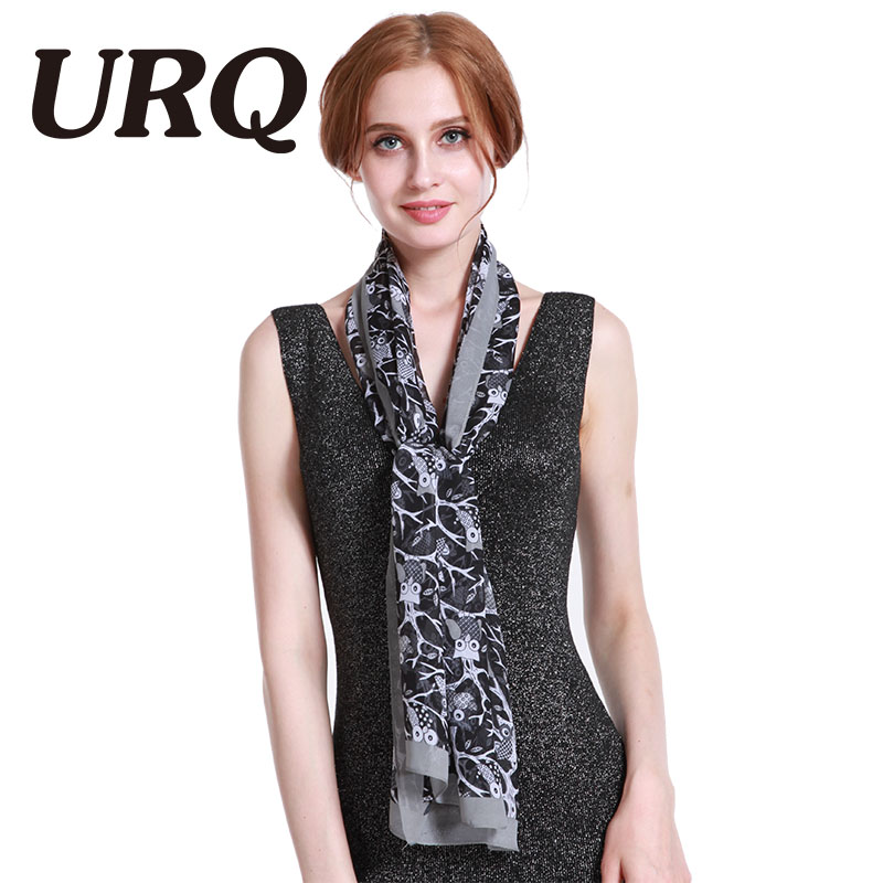 2017 New Brand Design Animal Print Woman Long Chiffon Silk Scarf Summer Wraps Shawl Owl Scarves P5A16763(China)