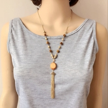 Free Shipping New Simple Pendant Tassel Wood Fashion Cute Necklace(China)