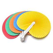 1Pcs Colorful Folding Paper Hand Fan Party Wedding Home Decorations Wedding Decoration 5 Colors(China)
