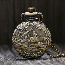 Antique Small Pocket Watch Delicate Train Steam Locomotive 3D Carving Slim Necklace Mini Clock Special Gifts for Children Boys(China)