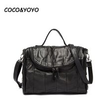 COCO&YOYO 2017 Fashion Black Genuine Leather Women Bag Designer Patchwork Sheepskin Rivet Handbags High-quality Shoulder Bags