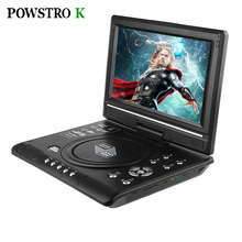 POWSTRO K Portable 7.8'' DVD Player with 7 Inch TFT Display Screen 270 Rotating Game Analog TV USB SD Card Slots MP3 CD VCD Play