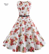 Baharcelin Vestidos New Summer Dress Sleeveless Vintage Floral Printed Women Girl one piece Knee Length Dresses Clothing(China)