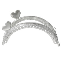 FGGS-1PC Metal Frame Kiss Clasp Arch For Purse Bag Silver Tone Heart Pattern(China)