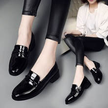 patent leather women loafers lady casual shoes slip on round toe shallow low heel boat shoes 35 to 41(China)