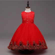 FREE 2016 new Summer Evening Dresses Kids Embroidered Sequin Costume Bow Elegant Infant Princess Wedding Christmas Girls Party