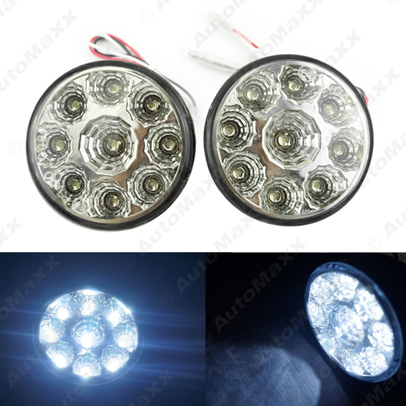 5Set Car E4 RL00 0087 9LED Round Daytime Running Light DRL With Auto Switch #J-2686<br><br>Aliexpress