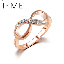 IF ME New Design hot sale Fashion Alloy Crystal Rings Gold Color Infinity Ring Statement jewelry Wholesale for women Jewelry(China)