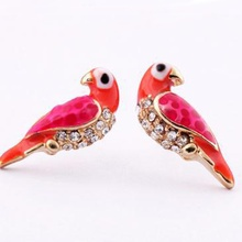 Hot Sale Fashion Charms Crystal Stud Earrings For Women  Loverly Animal Red Bird Earring Jewelry Hot Gifts