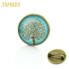 TAFREE New 2017 Vintage Tree of Life brooch Jewelry Wholesale Glass cabochon dome life tree pins New Year Christmas gift C205(China)