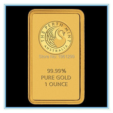 Wholesale 5PCS/lot Free shipping 1 oz Perth Mint Gold Bar (Non-magnetic)