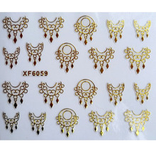 Ultrathin 3D Nail Stickers Star/Skull/Crown/Flowers Image Transfer Decal Gold Color Adhesive Nail Art Decorations XF6059(China)