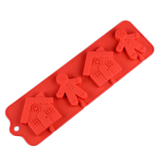 DIY Christmas series Christmas Claus & House Shape Silicone Candy Mold Lollipop Chocolate Mold For Silicone Cake  Bakeware CL011