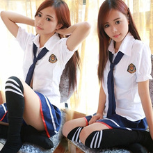 Sailor Uniforms Short-Sleeved T-shirt +Skirt Piece Fitted Sexy Girls School Uniforms Japanese Cosplay Anime Wear 2016(China)