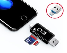 USB SDHC SD Micro SD / TF Card Reader Writer For iPad for iPhone 7 6 6S Plus 5 5S For SAMSUNG HTC LG Android OTG Phone