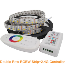 2.4G RGBW LED Controller + 5M 12V SMD 5050 Double Row RGBW RGBWW LED Strip IP20 Non-waterproof 120LED/M Flexible LED Tape(China)