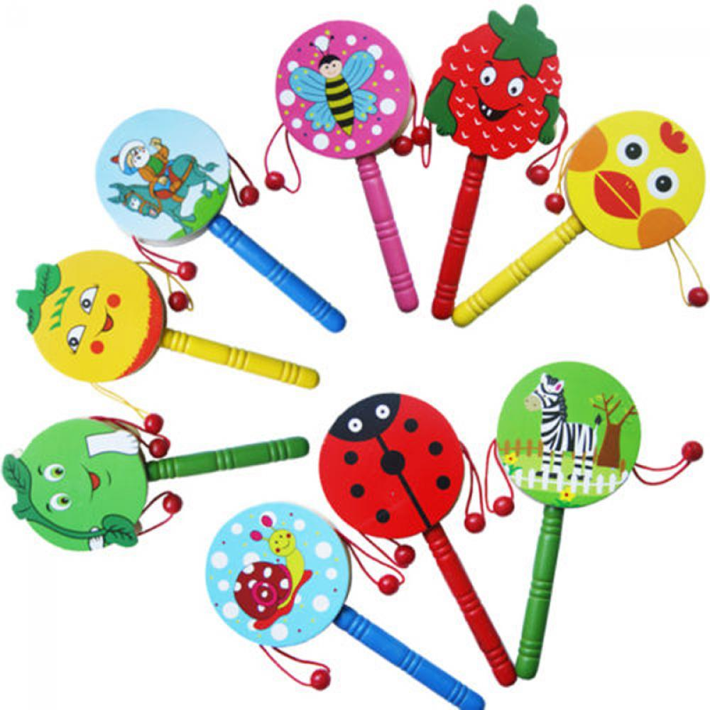 Random Colors!! 1pc Baby Kids Cartoon Animal Hand Bell Toy Wooden Rattle Drum Musical Instrument Tambourine Ring Random color