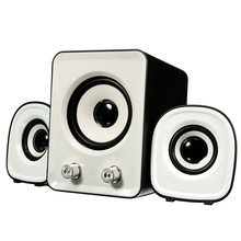 1Set (1 Main Speaker+2 Small Speaker) Mini Computer PC Speaker 2.1 Multimedia Stereo Desktop Portable USB Subwoofer/Blue White