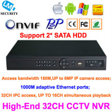 High-End ONVIF 32 Channels CCTV NVR Recorder Full HD 1080P Support up to 6MP IP Camera Access, 2 SATA HDD PORT Surveillance NVR