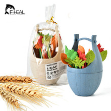 FHEAL Eco Green Biodegradable Forks Natural Wheat Straw Leaves Fruit Fork Set Party Cake Salad Vegetable Forks Table Decor Tools(China)