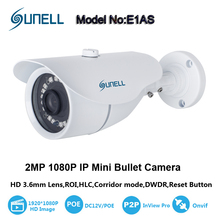 "Sunell 2.0MP 1/2.7"" CMOS HD IP Mini Bullet Camera 3.6mm Lens IP66 1080p White,Support Motion Detection,Network disconnect,RTSP"