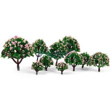 New Arrivals 2015 HO Scale Model Trees 5 Sizes 10pcs Model Tree with Pink Flower for Railroad Scenery/dioramax Free Shipping(China)