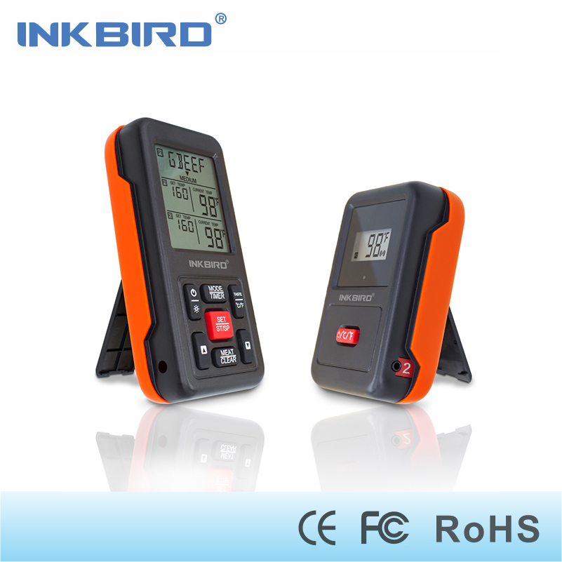 Inkbird Digital Remote Home Cooking Oven BBQ Wireless Thermometer IRF-2S Orange, Stainless Steel Probes &amp;Large Screen with Timer<br>