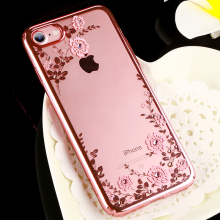 Original KAVARO Flower Diamond Case Crystals from Swarovski For iPhone 8 7/ 7 8 Plus Luxury Electroplating Hard Back Cover Cases