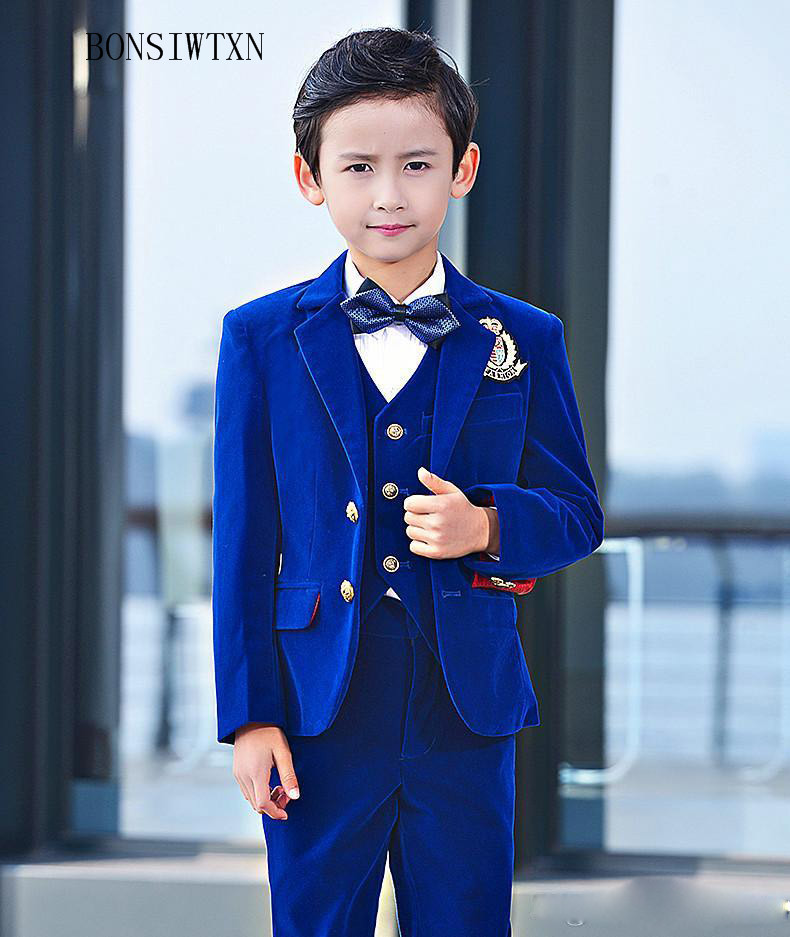 BONSIWTXN2019 flower boy suits for weddings children's royal blue formal suit jacket boy blazers sets kids party clothes tuxedos
