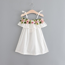 2017 Summer Girls beach Dress sweet embroidered strap dress kids Casual Beach Clothes