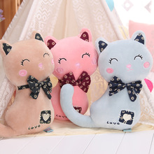 New Coming 1Pc Big Size 55Cm Plush Bow Standing Cat Toy Pink Cat Cute Soft Kitty Stuffed Doll High Quality Kids Bithday Gift(China)