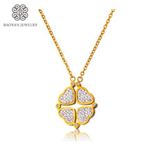 Tow Model Clover Necklace Hearts Necklace Changable Crystal Stainless Steel Pendant Necklace for Women N0(China)