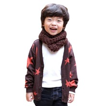 Kids Baby Boy Girl Cotton Star Print Cardigan Knit Sweater Girls Knitwear Casual Coat Tops 1-6Y