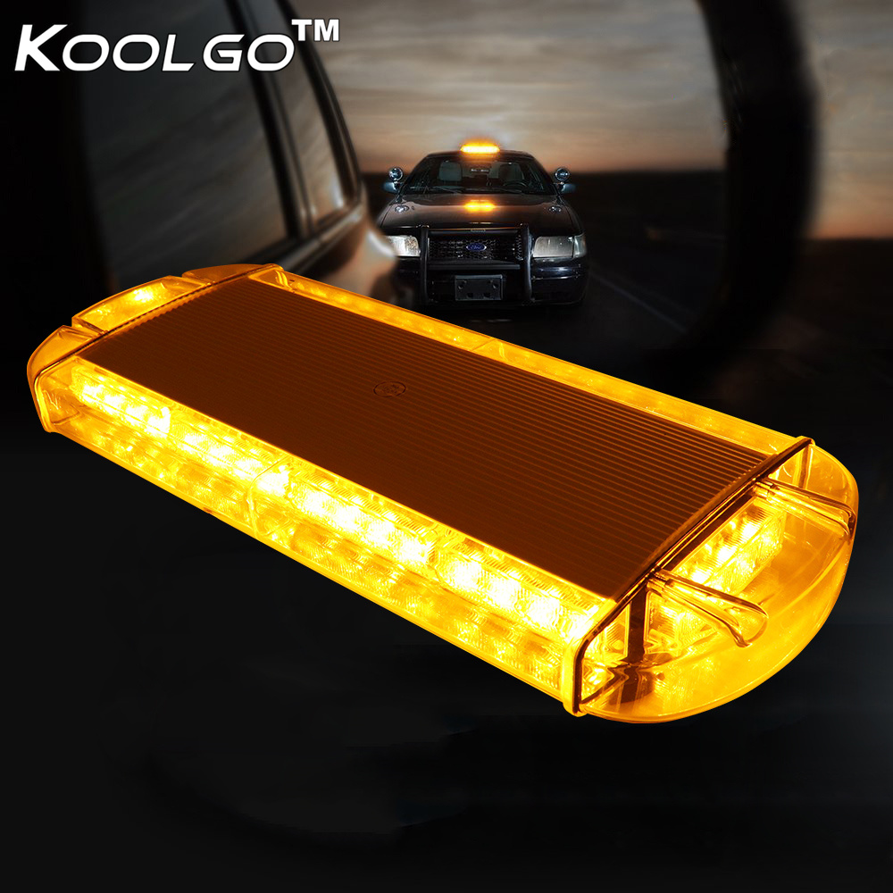 25 in LED Warning Emergency Beacon Strobe Roof Flash Mini Amber White Light Bar