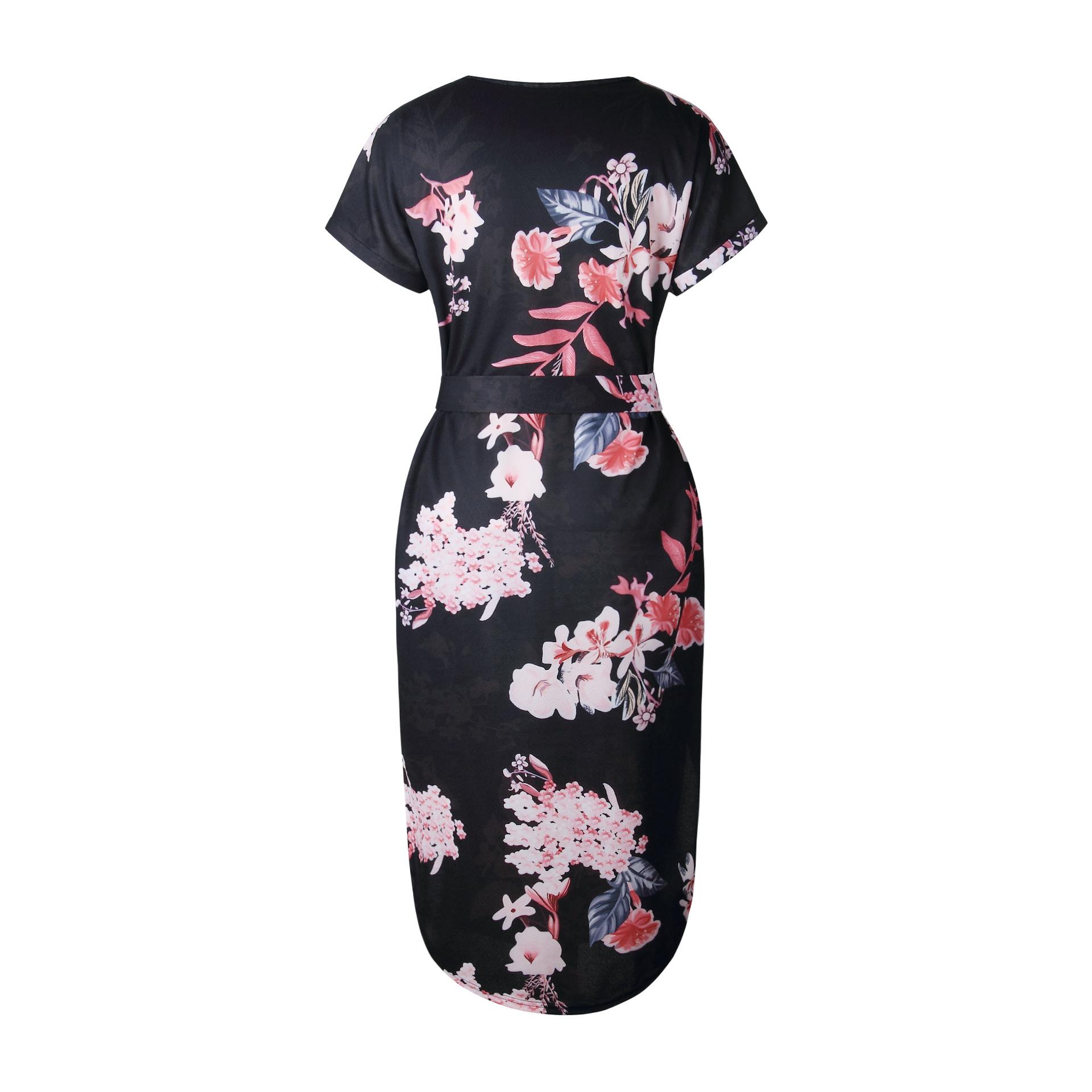 2018 Summer Dress Women Print V Neck Short Sleeve Robe Female Dresses Casual Sashes Midi Dress Ladies Elegant Vestidos Dropship 24