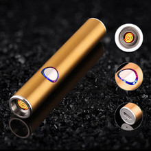 Mini Metal USB Lighter Rechargeable Electronic Lighter Thin Cigarette Turbo Lighter Encendedor Cigar Palsma Pulse Man Lighter