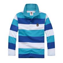 Top quality kids striped t shirt boys girls brand clothes for baby big boy long sleeve cotton shirts 4 6 8 10 12 14 16 years(China)