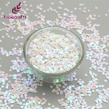 Lucia crafts 20g/bag Heart Glitter Flake Rainbow Cup Sequin DIY Nail/Garment/Wedding/Party Handcraft Accessories 24010026(3D20g)