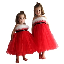 High QualityKids Girl Red Christmas Dress Party Dress Festival Christmas Costume Children Clothing