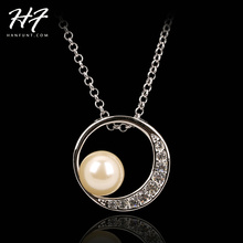 Top Quality N394 Imitation Pearl Necklace Sliver Color Fashion Jewellery Nickel Free Pendant Crystal